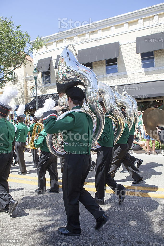 Marching band at the St. Patrick's Day parade royalty-free stock photo