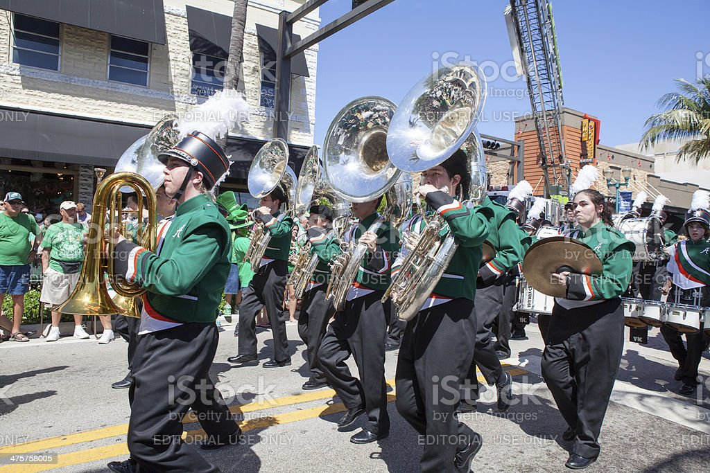 Marching band at the St. Patrick's Day parade  rr royalty-free stock photo