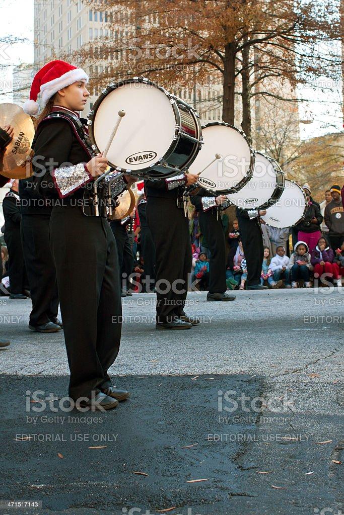 Marching Band Bass Drummers Perform In Atlanta Christmas Parade royalty-free stock photo