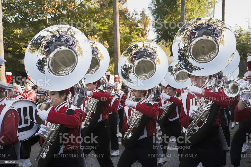 marching band brass section stock photo