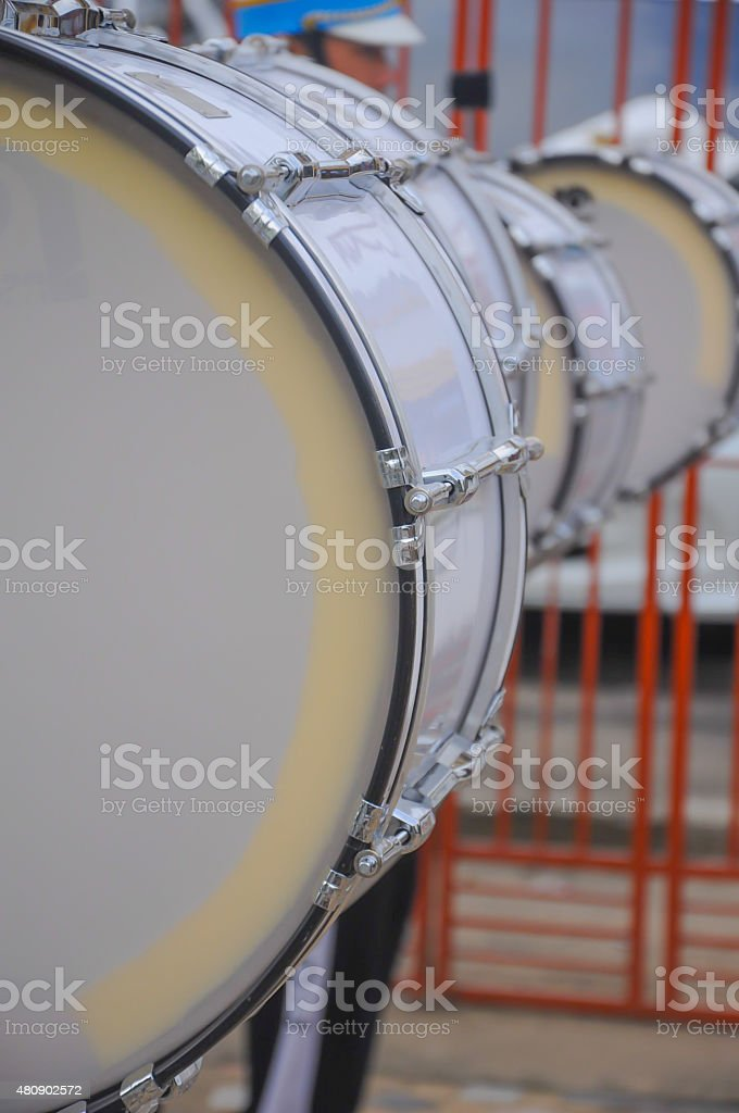 Marching band closeup on bass drum stock photo