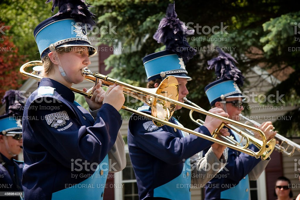 Marching band in Memorial Day Parade royalty-free stock photo