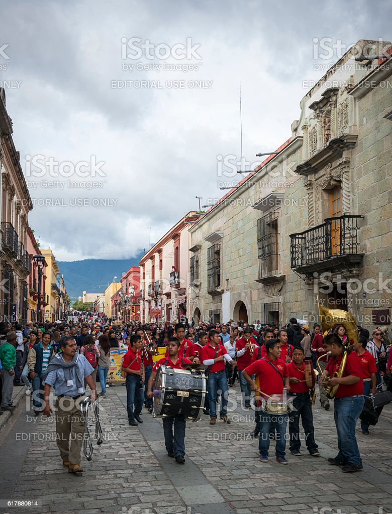 Marching band in Oaxaca, Mexico stock photo