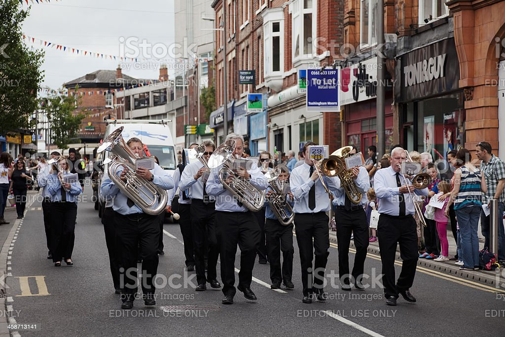 Marching band on parade stock photo