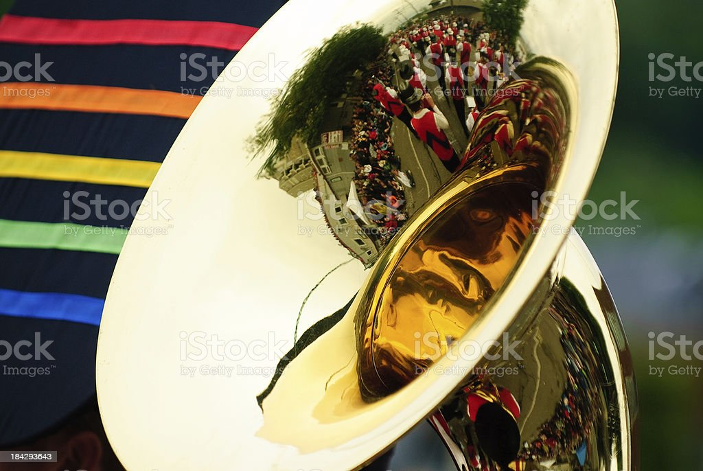 Marching Band Reflected in Tuba stock photo