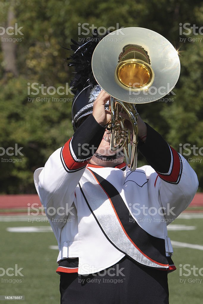 Marching Band student playing Mellophone royalty-free stock photo