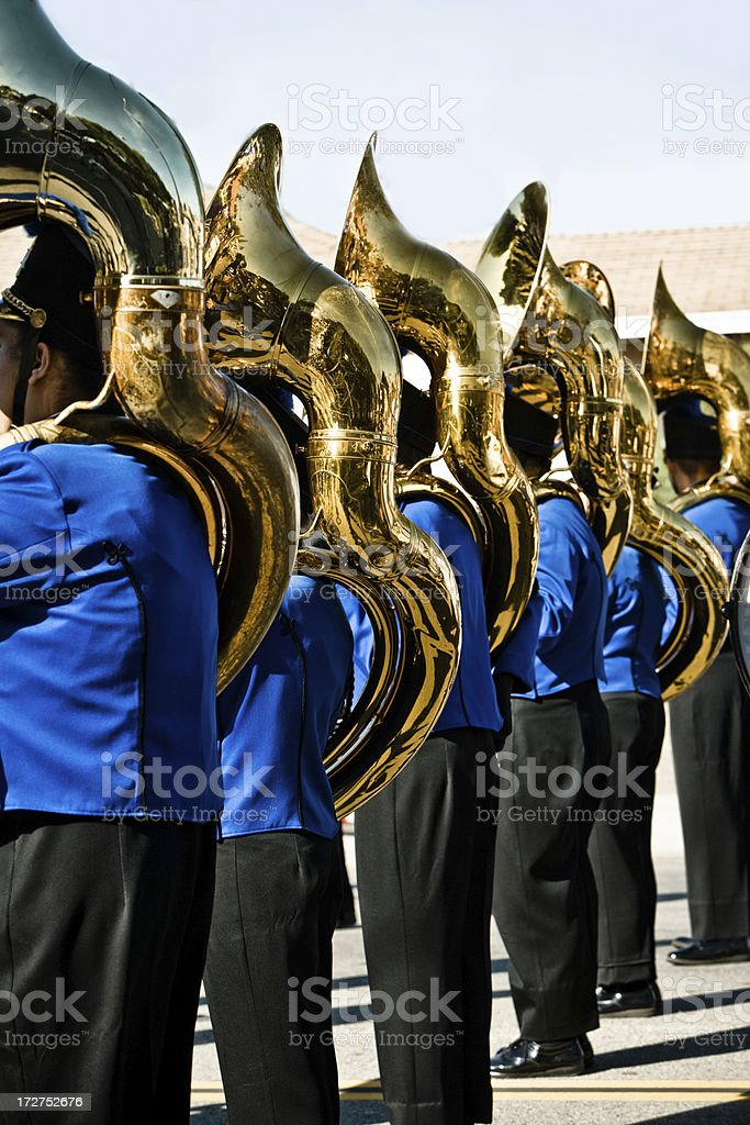 marching band with tubas (semi wide shot) stock photo