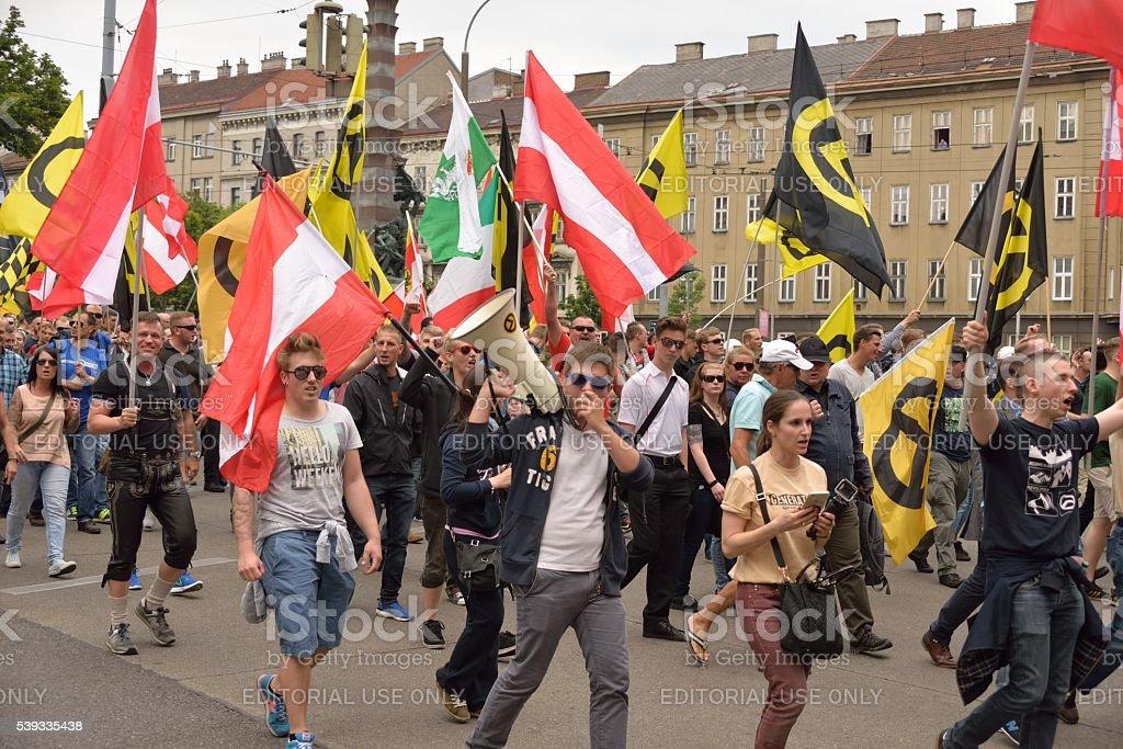 Marching demonstrators stock photo