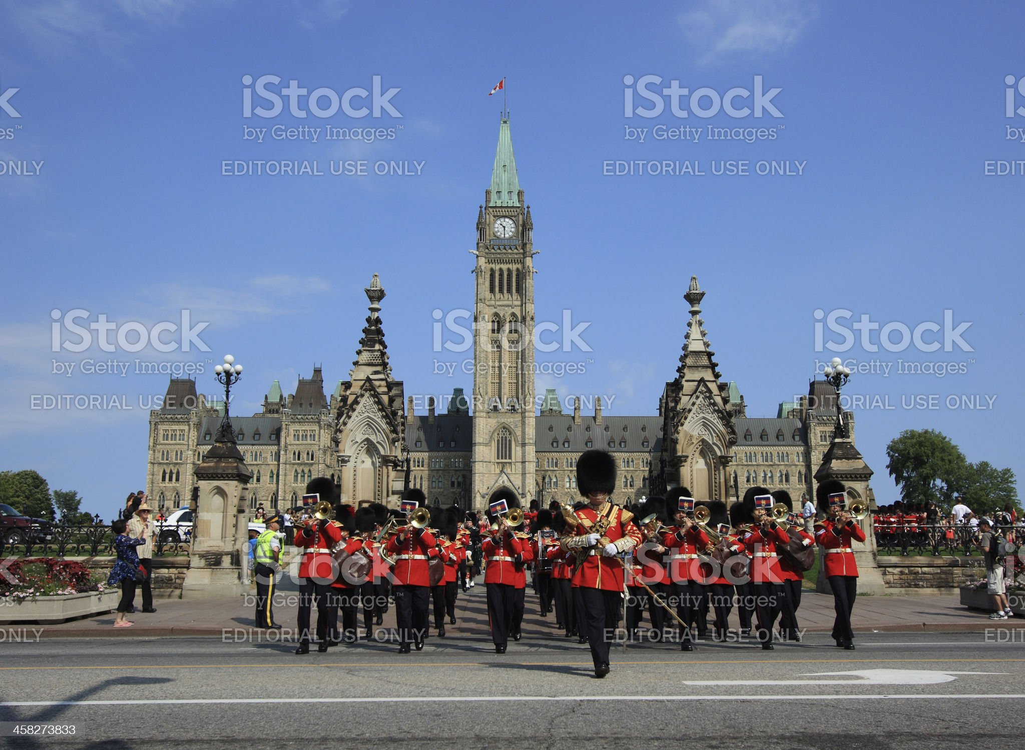 Marching Guards with Parliament Buildings royalty-free stock photo