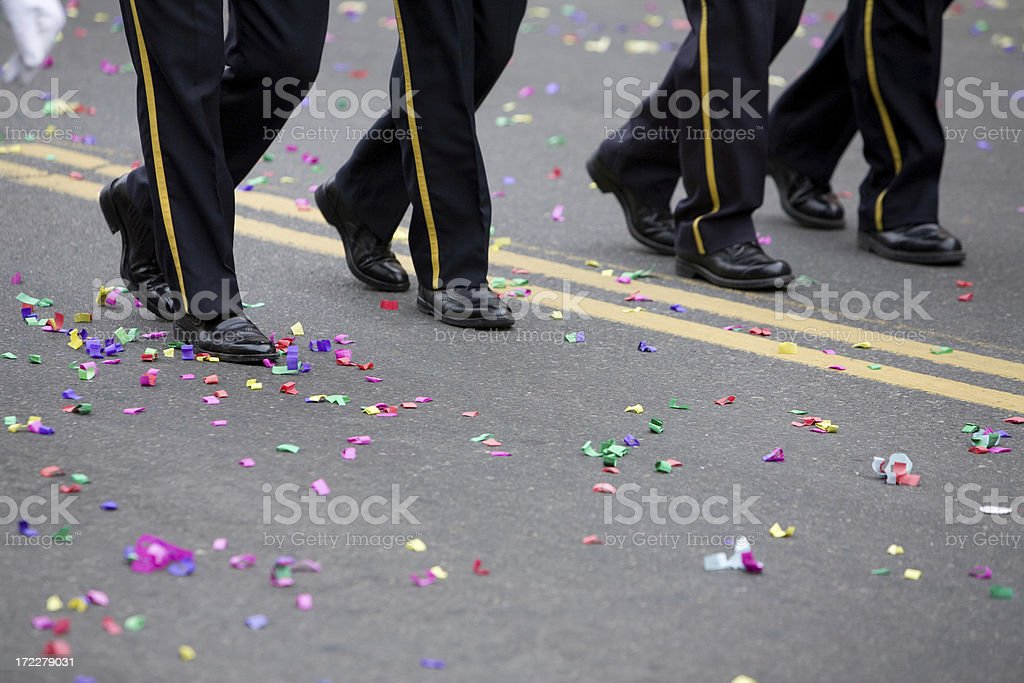 Marching in a Parade royalty-free stock photo