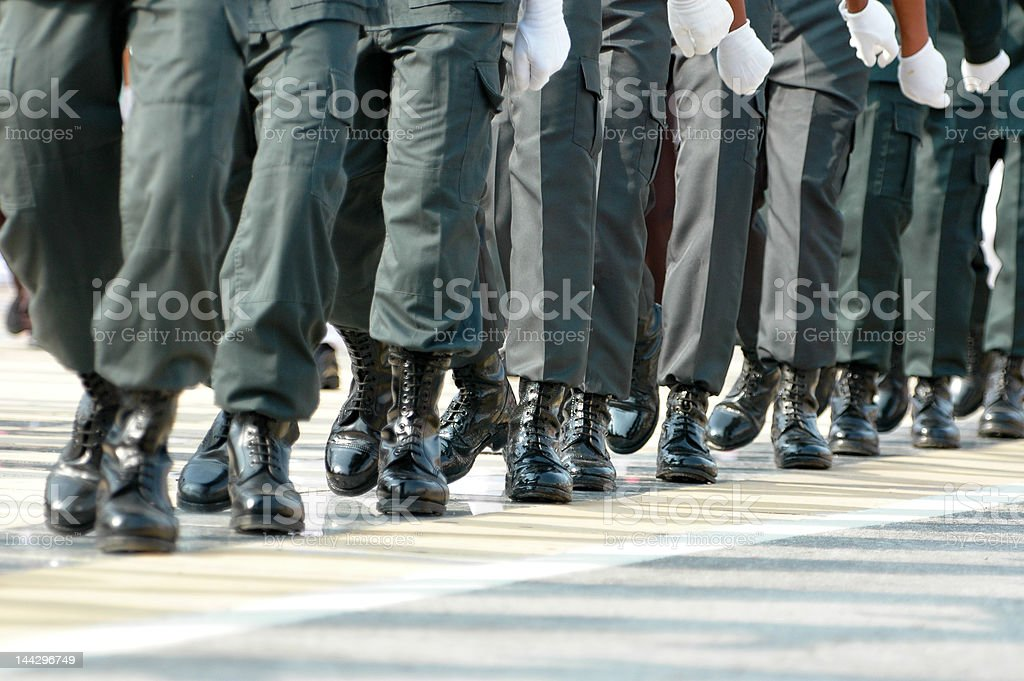 Marching in unision royalty-free stock photo