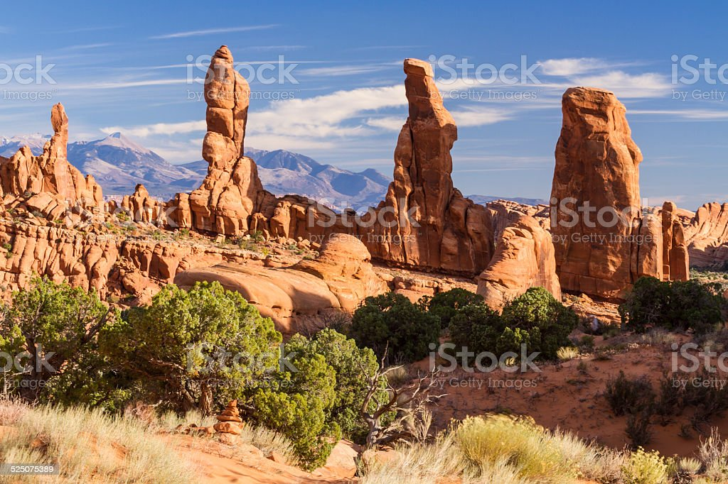 Marching Men and La Sal Mountains stock photo
