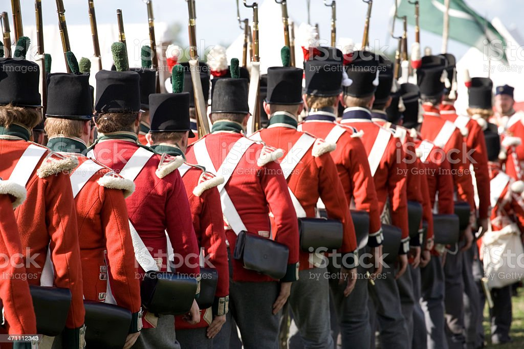 Marching Napoleonic Soldiers stock photo