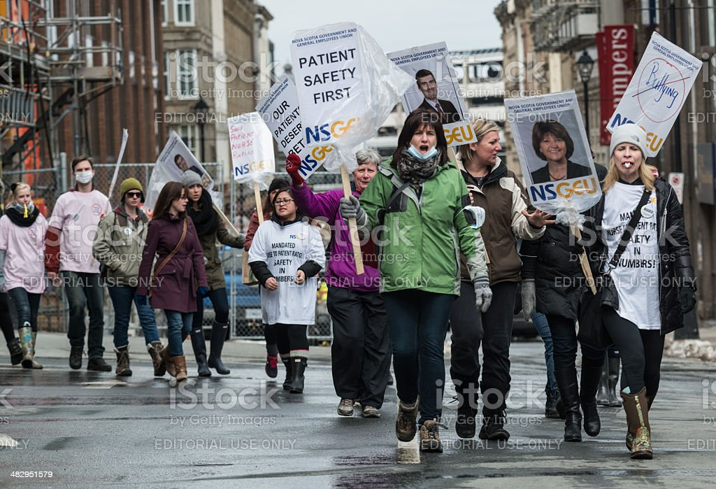 Marching NSGEU Nurses stock photo
