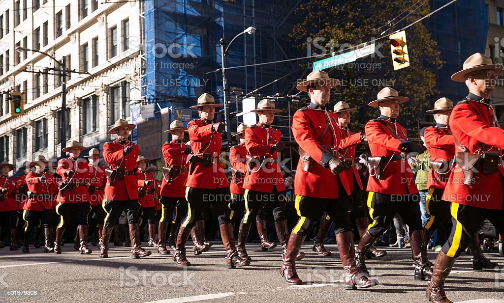 RCMP Marching stock photo
