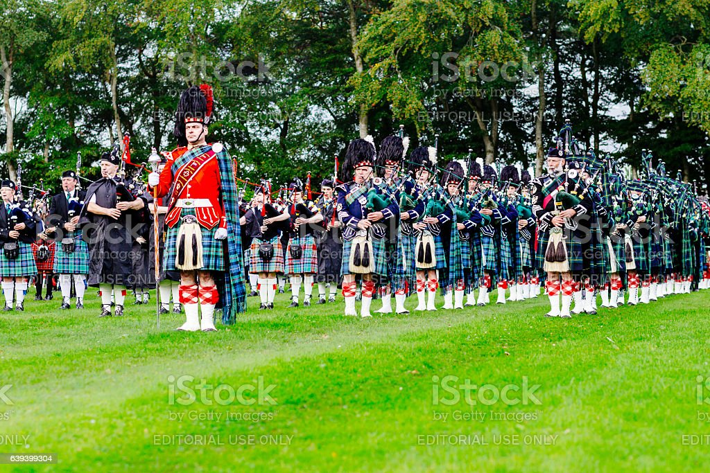 Marching Scottish pipe band stock photo