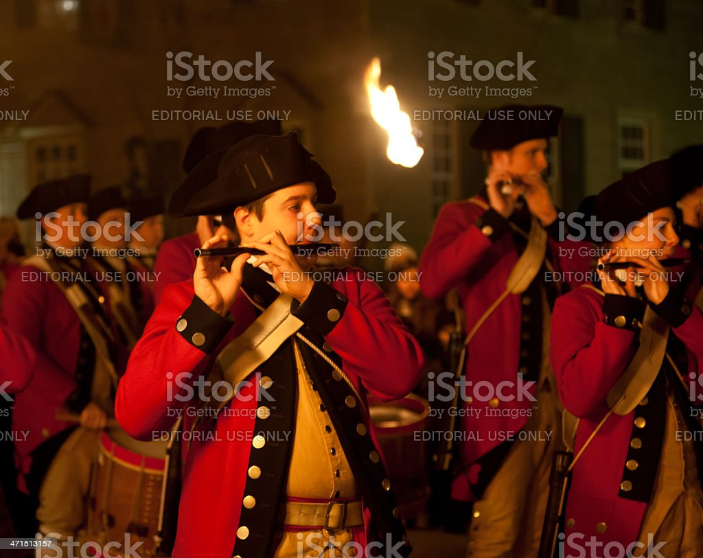 Marching soldiers in Colonial Williamsburg stock photo