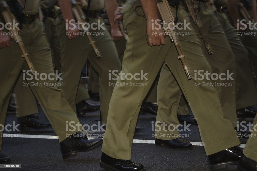 Marching Soldiers Legs with weapons stock photo