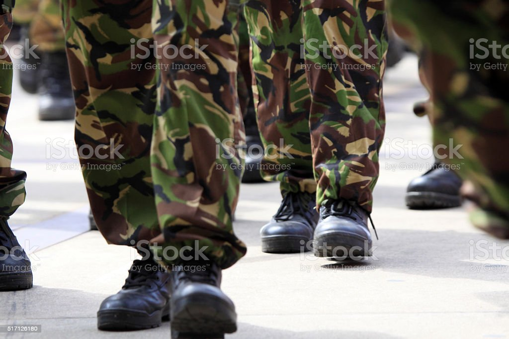 Marching soldiers stock photo