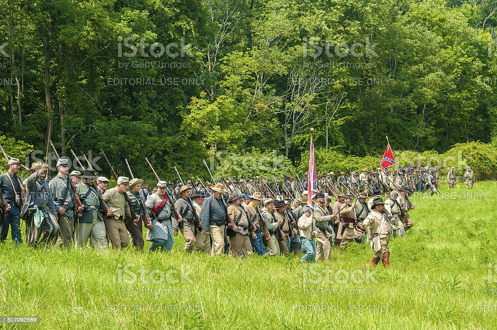 Marching to battle stock photo