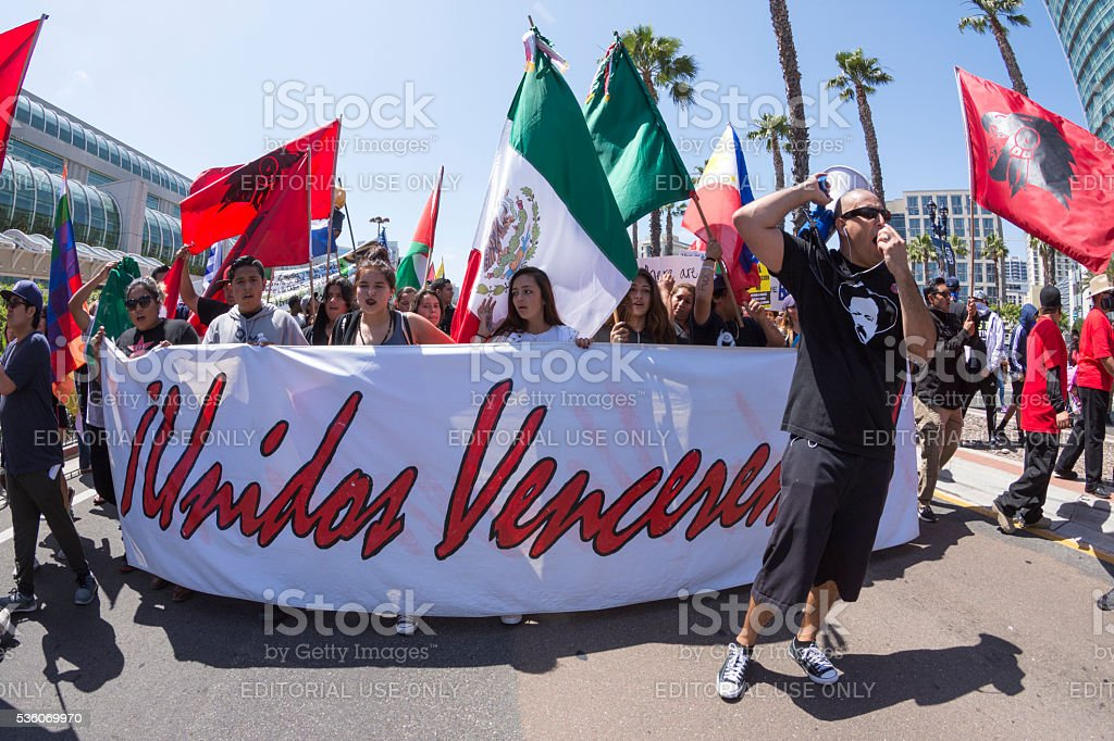 Marching united against Trump stock photo