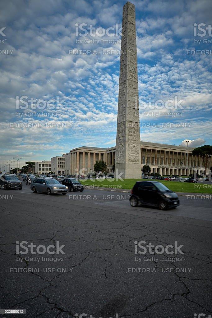 Marconi Obelisk - Rome, EUR district stock photo