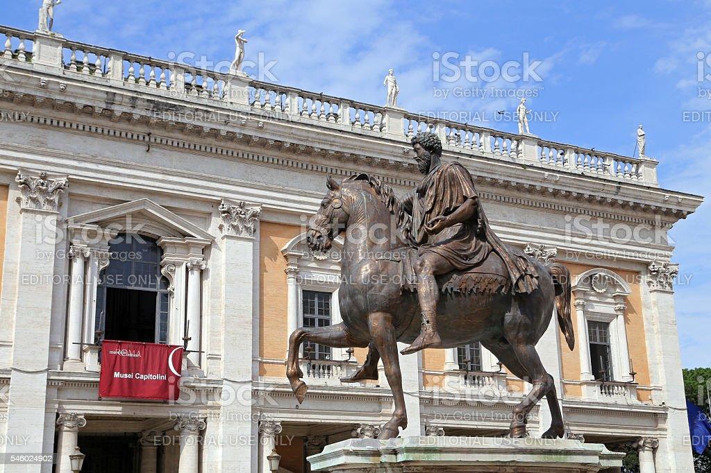 Marcus Aurelius on Capitol Hill in Rome stock photo