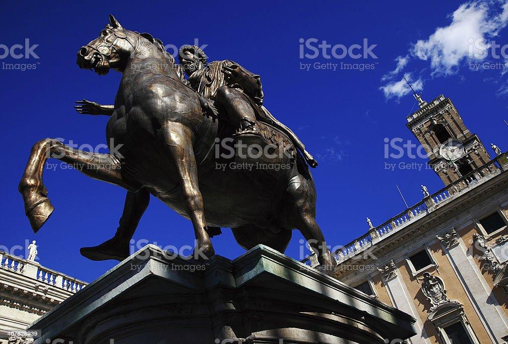 Marcus Aurelius sculpture in Rome, Italy royalty-free stock photo