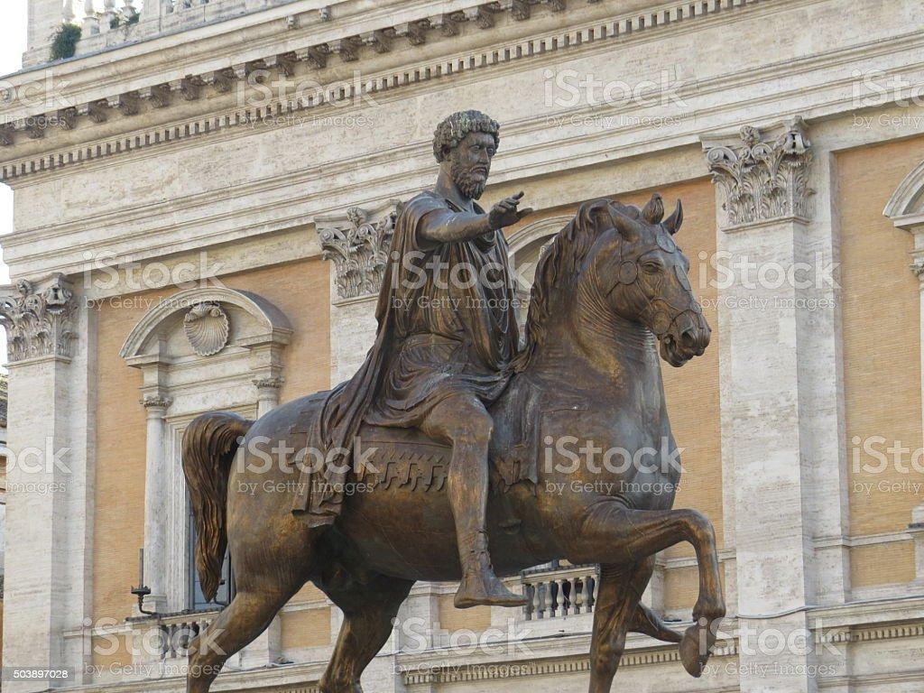 Marcus Aurelius statue stock photo