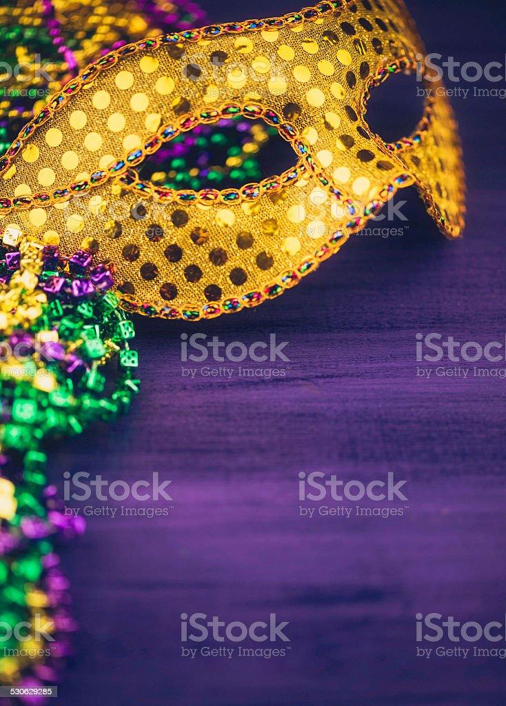 Mardi Gras background with mask stock photo