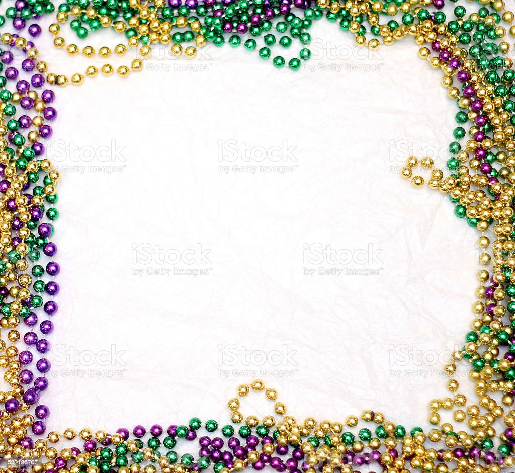 Mardi Gras Bead Frame stock photo