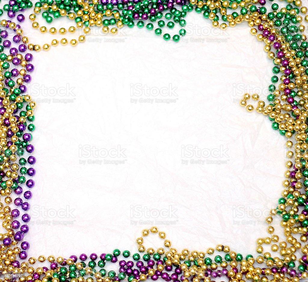Mardi Gras Bead Frame stock photo