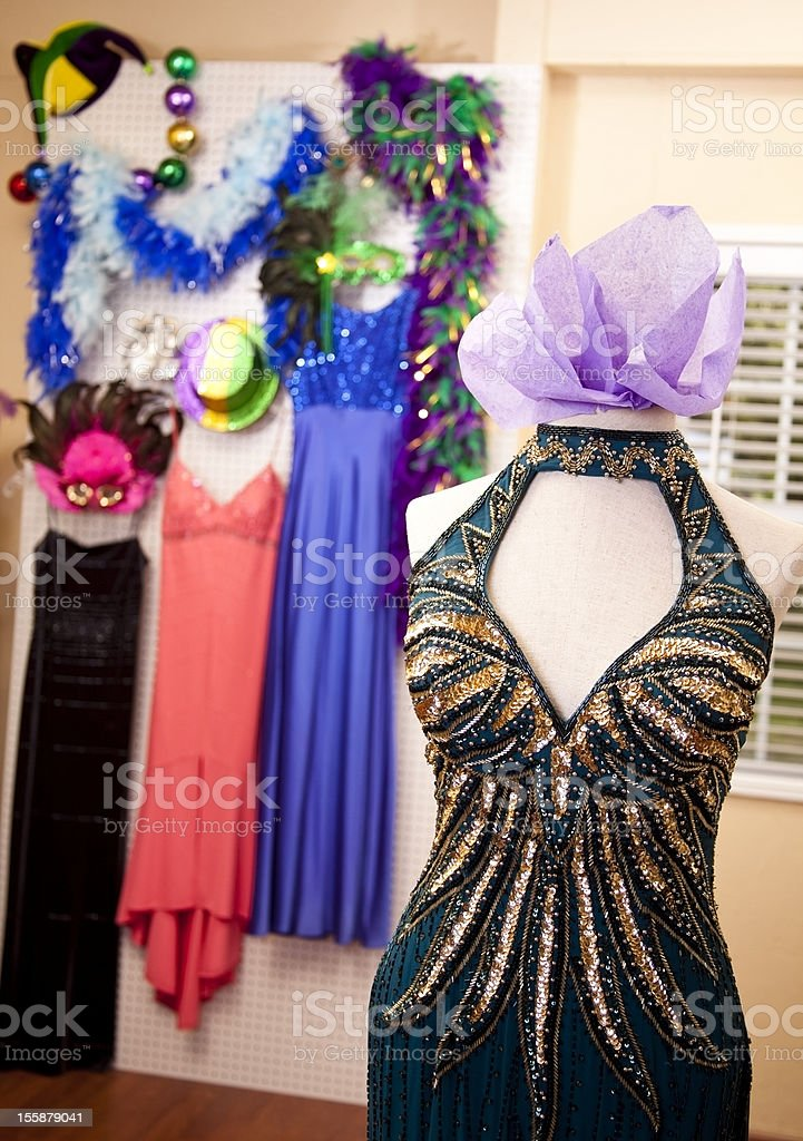 Mardi Gras boutique with evening gown display royalty-free stock photo