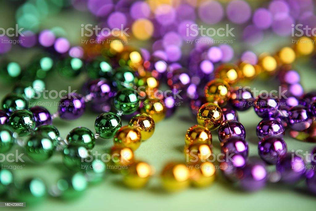 Mardi Gras bright colorful beads stock photo