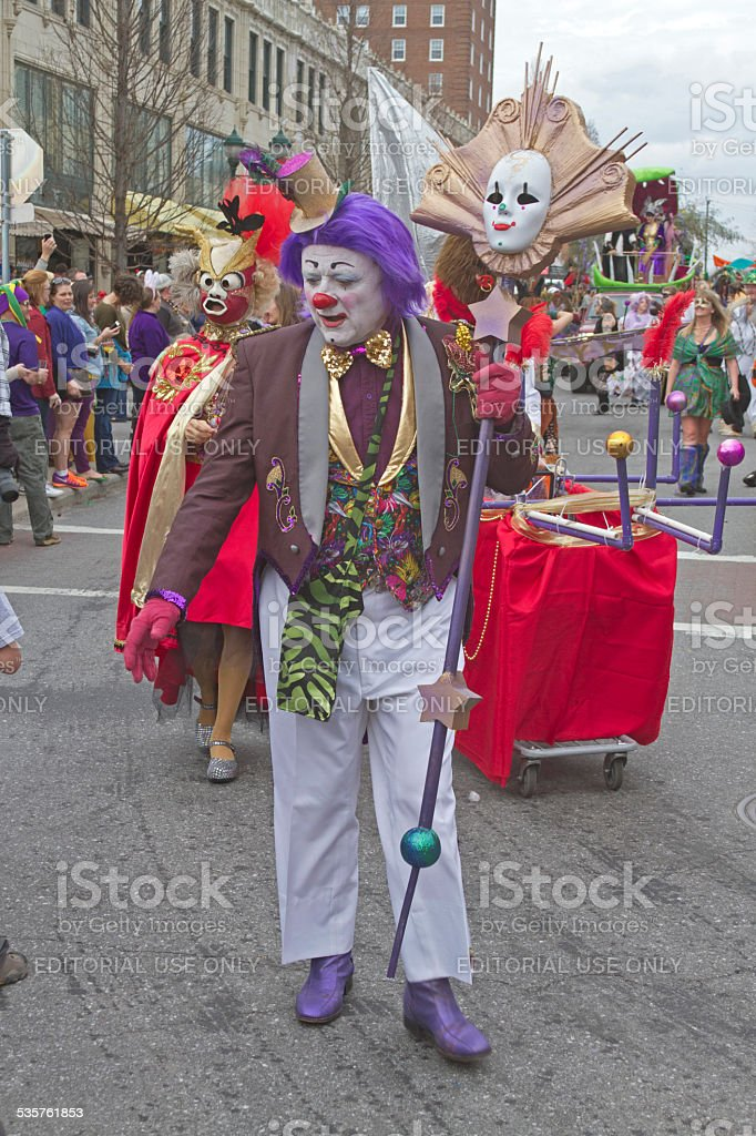 Mardi Gras Clown Walking in the Parade stock photo