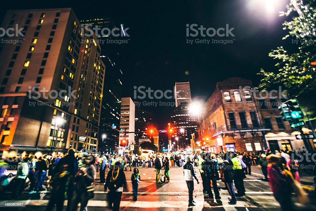 Mardi Gras crowd, New Orleans. stock photo