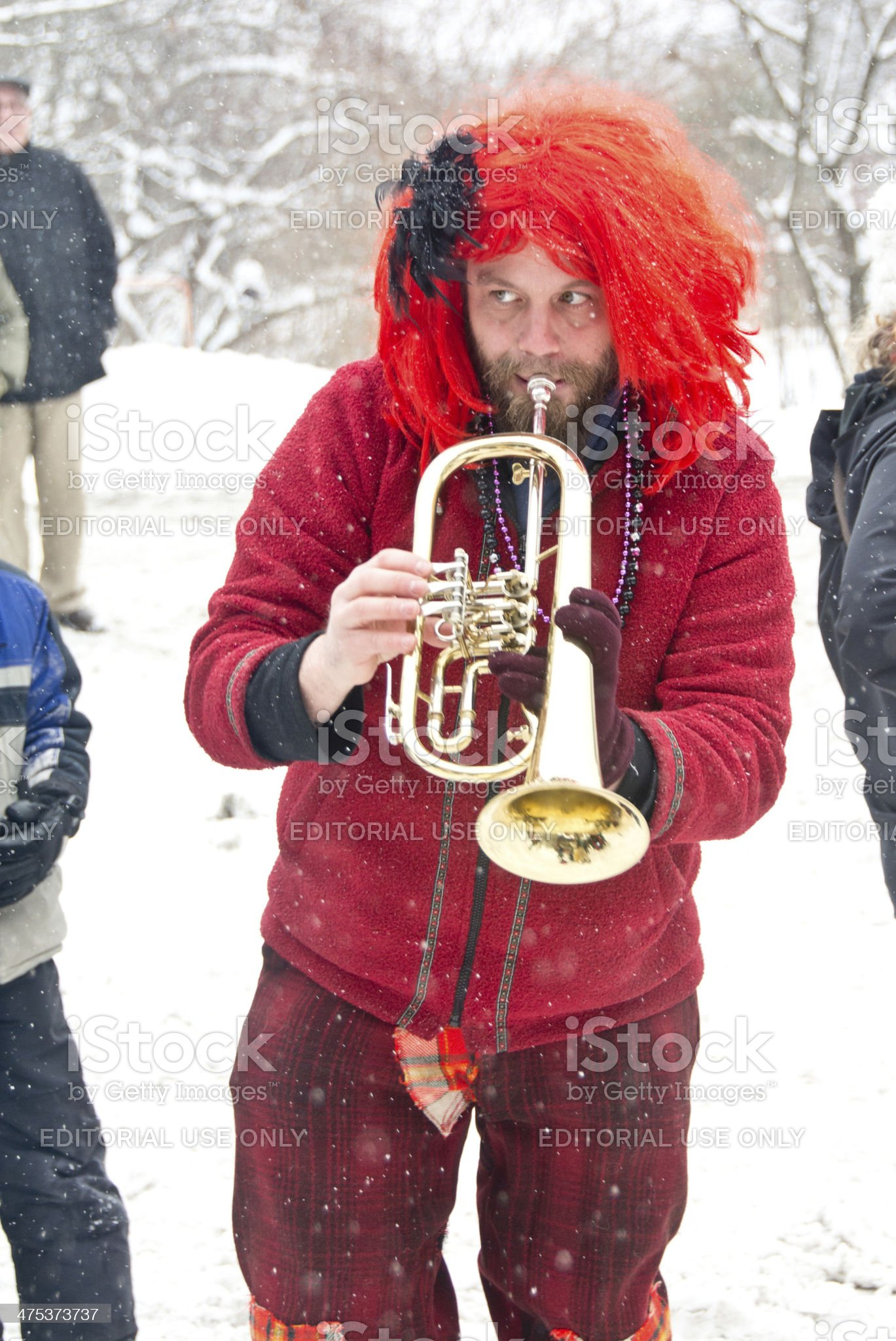 Mardi Gras flugelhorn player royalty-free stock photo