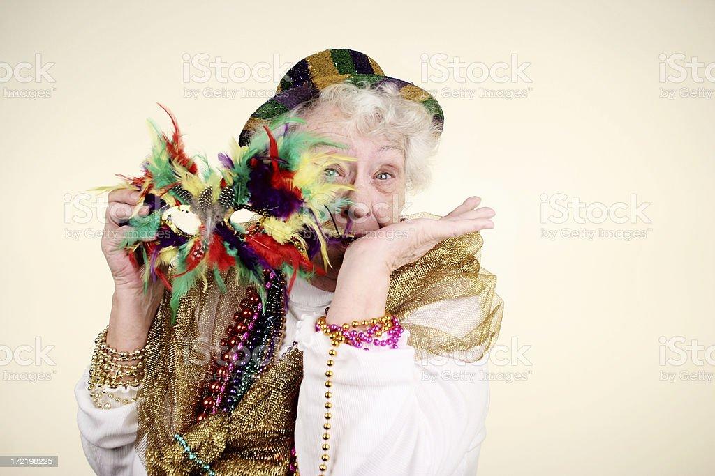 Mardi Gras Granny stock photo