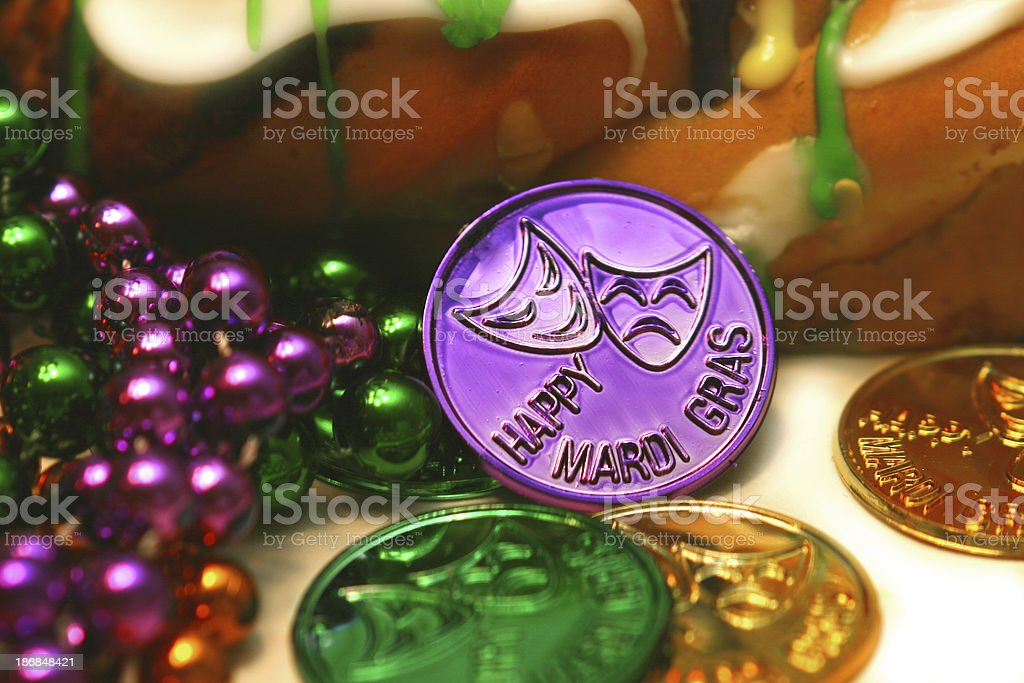 Mardi Gras King Cake royalty-free stock photo