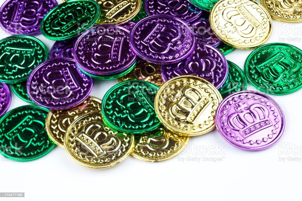 Mardi Gras king coins royalty-free stock photo