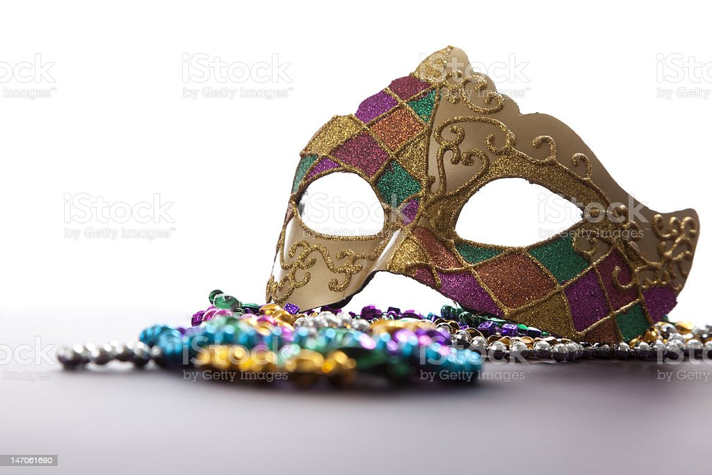 Mardi Gras Mask and Beads royalty-free stock photo
