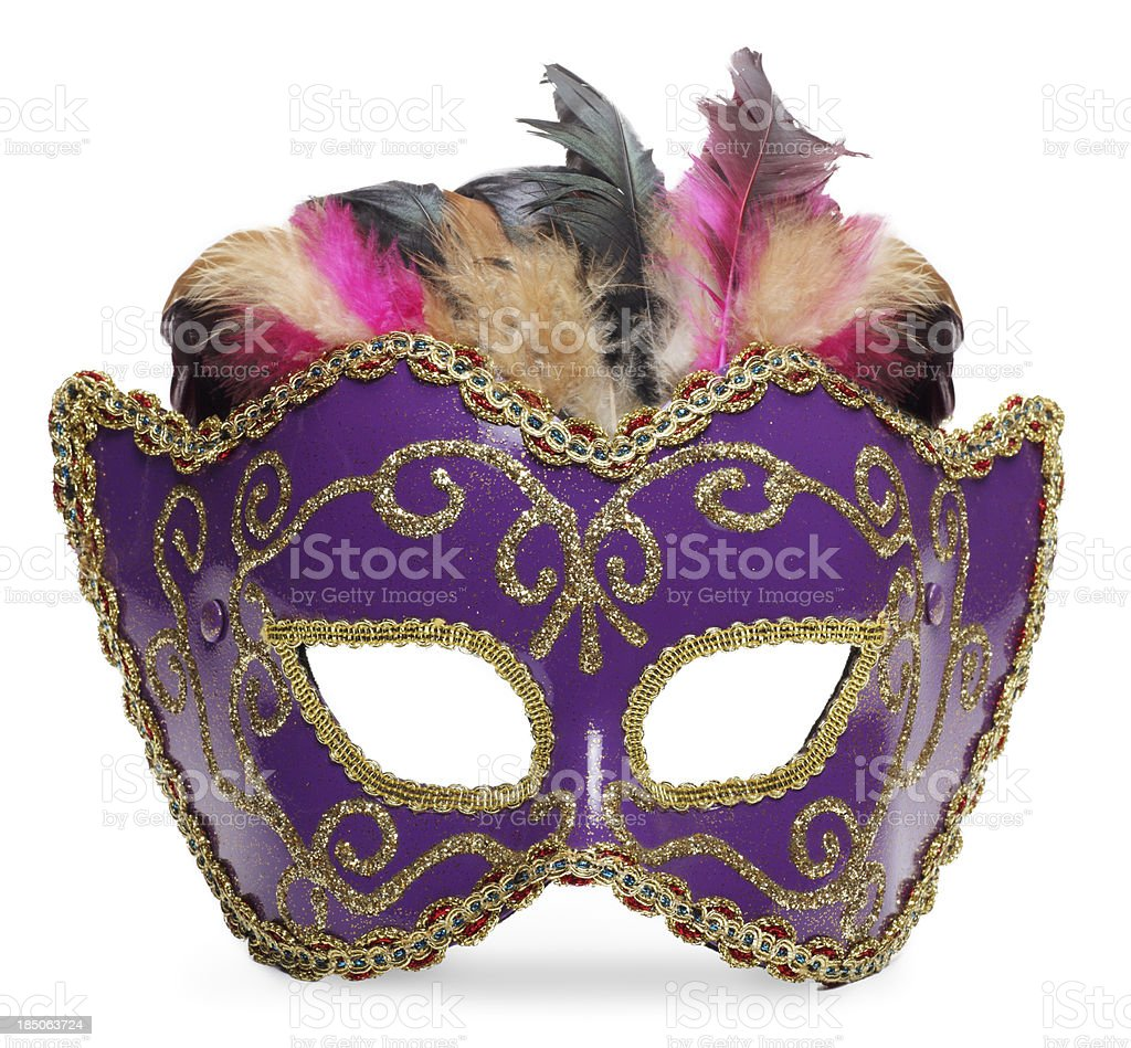 Mardi Gras Mask Isolated on White stock photo