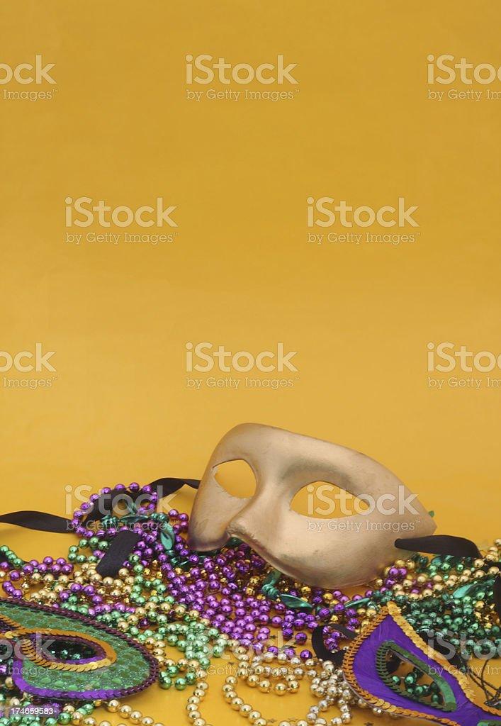 Mardi Gras Mask on Yellow royalty-free stock photo