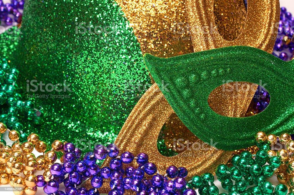 Mardi Gras Masks, Hat , and Beads stock photo