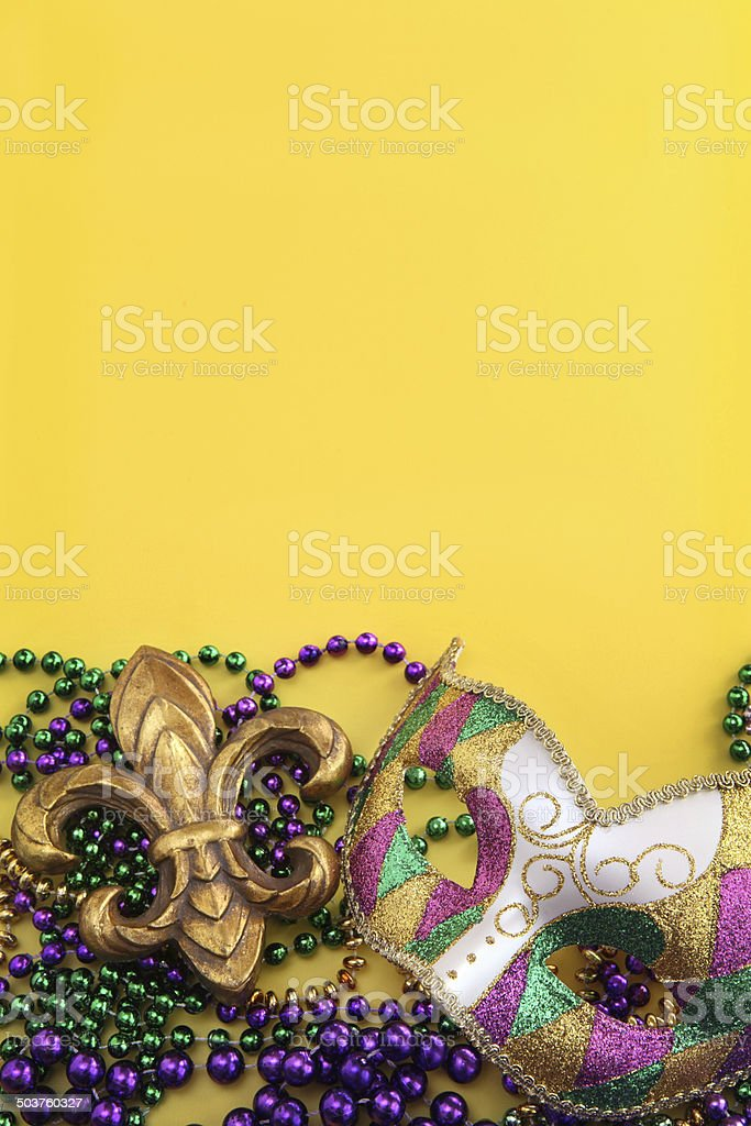 Mardi Gras on Yellow stock photo