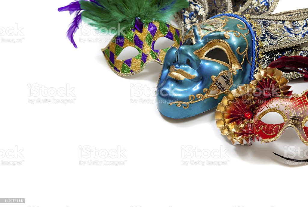 Mardi Gras or carnival mask on white stock photo
