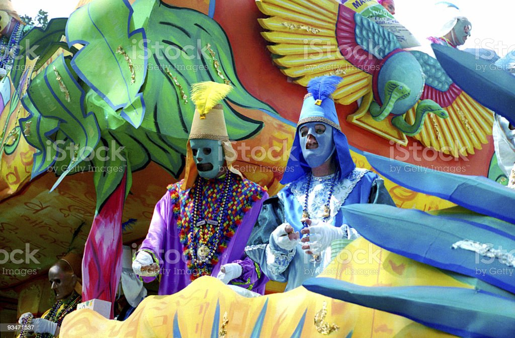 Mardi Gras Parade - Krewe members. stock photo