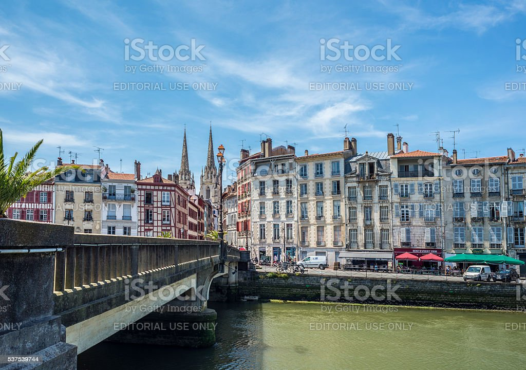 Marengo bridge with Cathedral of Sainte-Marie de Bayonne. France. stock photo