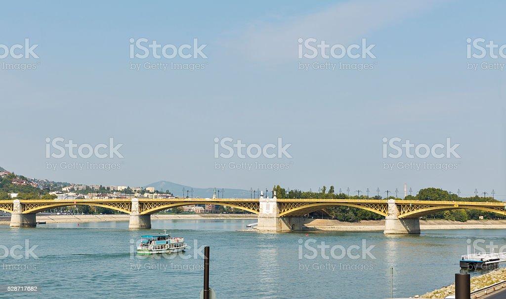 Margaret Bridge across the Danube river in Budapest, Hungary. stock photo
