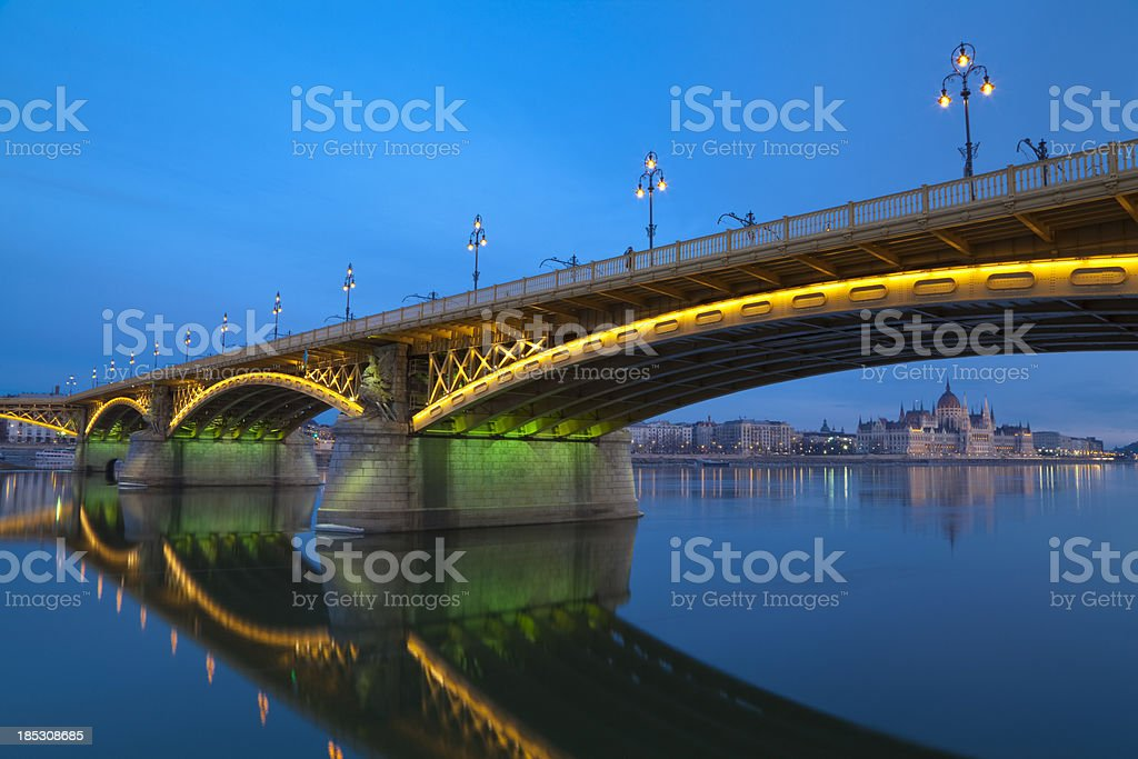 Margaret Bridge and the Parliament stock photo